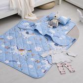 兒童睡墊涼被組 / 200織紗精梳棉 / 快樂獨角獸(藍)
