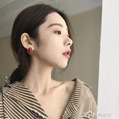 復古紅耳釘韓國氣質簡約大方不規則幾何耳環女E003 樂芙美鞋