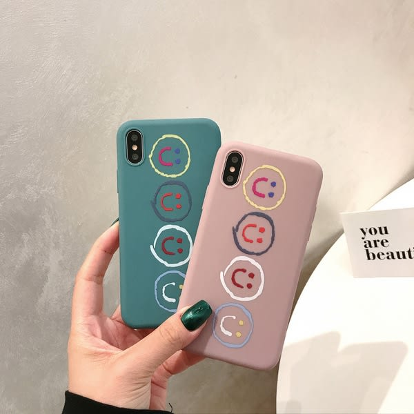 【SZ15】簡約卡通笑臉iphone xs max 手機殼 iphone 7 plus手機殼 iphone8手機殼 iphone xs防摔手機軟殼