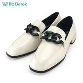 【Bo Derek 】復古漆皮樂福鞋-白色