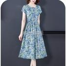 女裝短袖印花中長款棉麻連衣裙 快速出貨