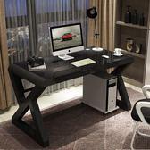 電腦桌臺式家用簡約現代經濟型書桌鋼化玻璃學習辦公桌游戲電競桌YYP   蜜拉貝爾