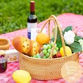藤編收納籃戶外野餐籃水果筐菜籃編織手提購物籃【白嶼家居】