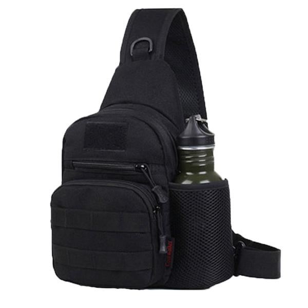 胸包男彈弓男士戶外特種兵迷彩胸前包單肩斜背包防水多功能腰包軍