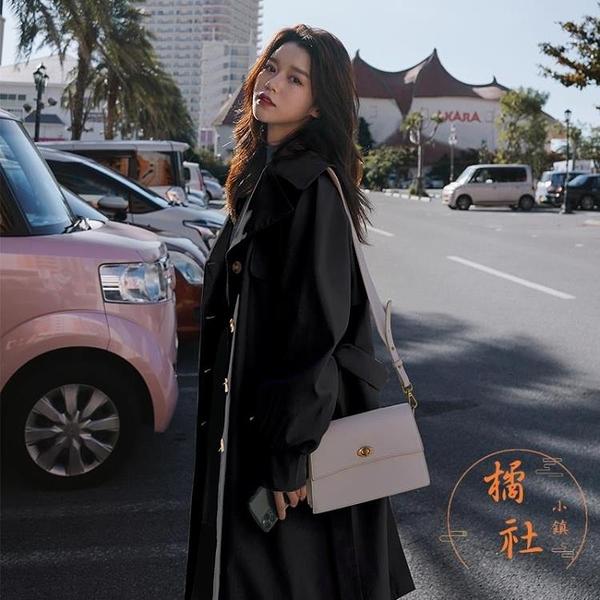 風衣女氣質顯瘦大衣寬鬆休閒過膝長款外套【橘社小鎮】