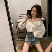 一字肩 雪紡襯衫女韓版2021春裝新款少女性感心機上衣女一字漏肩長袖襯衣 雙十一爆款