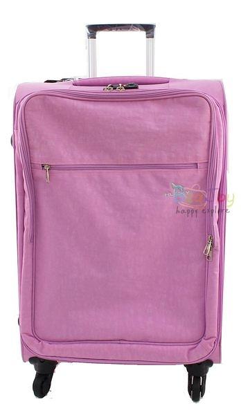 YUE HUSKY 超輕量皺皺布24吋行李箱(YU-7024粉紅)