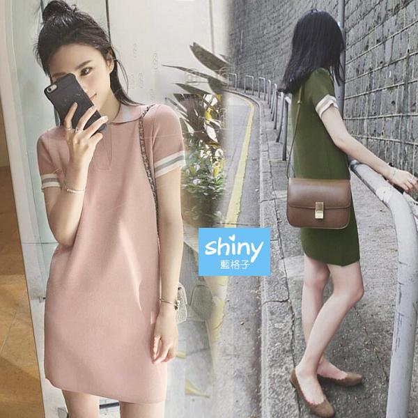 【V2865】shiny藍格子-休閒時尚.純色翻領條紋袖連身裙