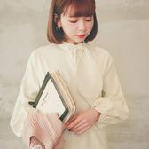 MUMU【O21690】兔耳領結花苞袖長版襯衫洋裝。兩色