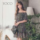 東京著衣【YOCO】優雅女孩一字領雪紡花洋裝-S.M.L(181372)