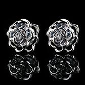 耳環 925純銀 鑲鑽-典雅玫瑰花生日情人節禮物女飾品2色73hz17【時尚巴黎】