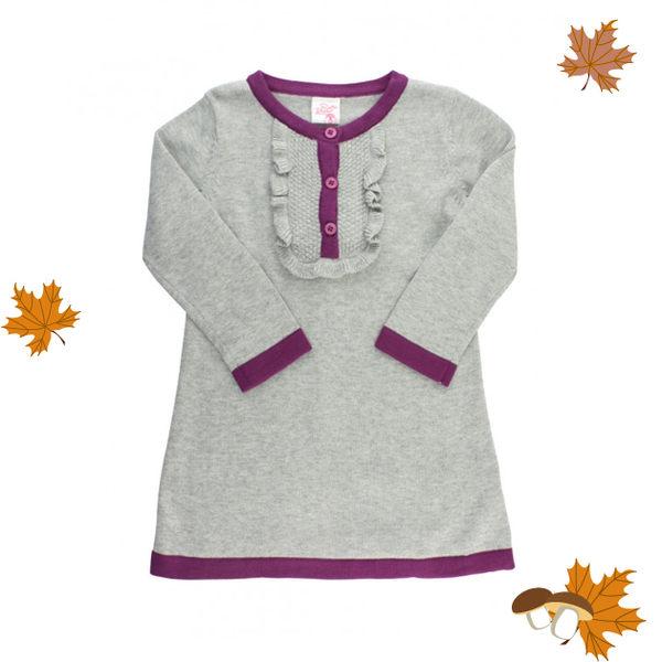 針織 / 歐美風 / 女童洋裝 / 灰色毛線洋裝 RuffleButts