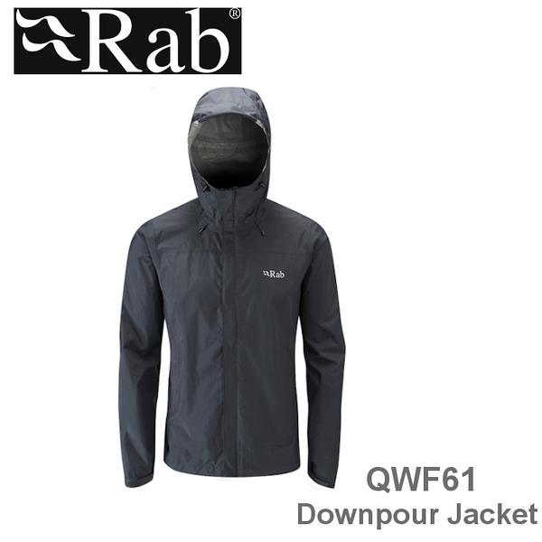 【速捷戶外】英國 RAB QWF61 Downpour Jacket 男高透氣連帽防水外套(黑),登山雨衣,防水外套