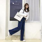 韓版新款中大尺碼女裝牛仔褲胖MM加厚加肥彈力寬鬆高腰寬長褲【779】