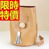 水桶包-可肩背好搭經典皮革女側背包3色58o20【巴黎精品】