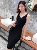 連衣裙 2020新款吊帶連衣裙春夏流行女裝針織背心裙中長款黑色內搭打底裙