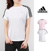 【GT 】Adidas 白短袖T 恤女款透氣排汗合身 休閒訓練上衣短T 愛迪達 款Logo DV2246