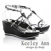 ★零碼出清★Keeley Ann極簡細帶寶石真皮楔形涼拖鞋(黑色)-Ann系列