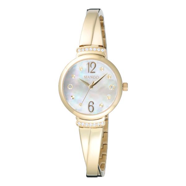 MANGO 氣質優雅晶鑽貝殼面腕錶-金