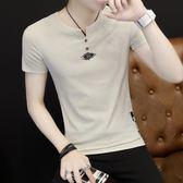 夏裝短袖T恤男士圓領上衣服POLO衫半袖韓版半截袖修身夏季男