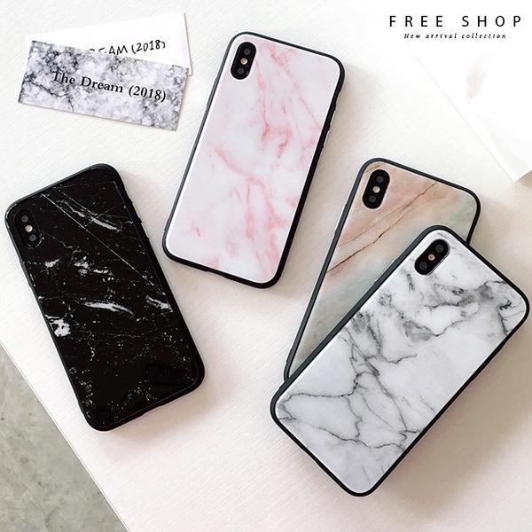 Free Shop 最新軟邊鋼化玻璃背板 大理石手機殼 防摔全包 蘋果 iPhone X/8/7/6 S PLUS 全系列【QCCAQ1017】