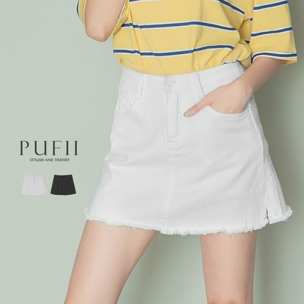 限量現貨◆PUFII-褲裙 單釦下開衩素面牛仔短褲裙- 0512 現+預 夏【CP18538】