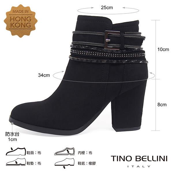 ★零碼出清★Tino Bellini視覺焦點混搭釦帶高跟短靴_黑 A69067 2016AW
