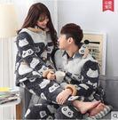熊孩子ஐ情侶睡衣男女士冬季珊瑚絨法蘭絨三層夾棉保暖加厚可愛外穿家居服(灰色805-806)