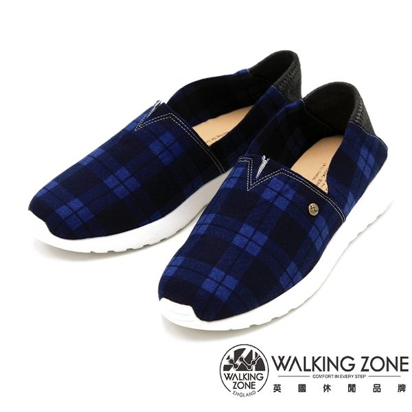 WALKING ZONE 經典百搭蘇格蘭格紋懶人鞋 女鞋-藍(另有紅)