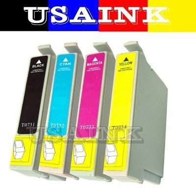 USAINK~EPSON C110/CX7300/CX8300 /CX9300F 相容墨水匣 ( T0731/T0732/T0733/T0734任選10顆.裸裝.免運 )
