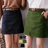 ★現貨★MIUSTAR 顯瘦挺版斜紋布附皮帶布褲裙(共3色,M-L)【NE4151RX】
