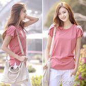 大尺碼短袖 新款韓版素色寬鬆大碼上衣圓領短袖女T恤夏裝衫 coco衣巷