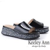 ★2019春夏★Keeley Ann氣質名媛 素面亮粉點綴厚底拖鞋(黑色) -Ann系列