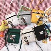 斜背包裝手機的小包包女新款學生韓版簡約百搭側背布袋子斜背帆布包 衣間迷你屋