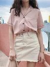 夏復古氣質寬鬆短袖網紅襯衫女韓版西裝領百搭學生上衣