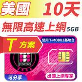 【TPHONE上網專家】 美國T方案 10天無限上網 前5GB支援4G高速 (沒有通話功能)