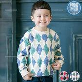 韓國童裝~經典時尚帥氣菱格紋長袖上衣(內毛巾布)(240302)★水娃娃時尚童裝★