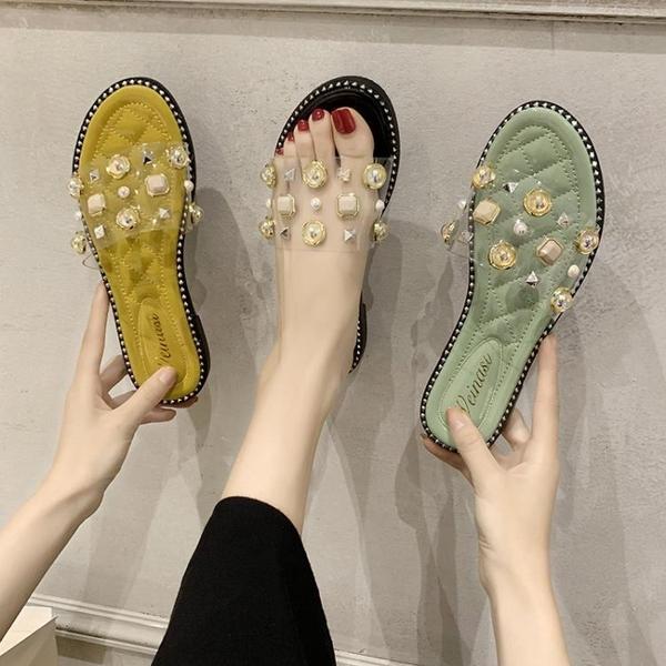 平底拖鞋 胎牛皮女拖鞋時尚百搭涼鞋女平底鞋2021夏季拖鞋女外穿ins潮涼拖 薇薇