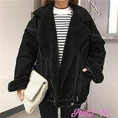 韓版新款寬鬆加絨加厚羊羔毛外套女冬裝bf牛仔棉衣百搭棉服棉襖潮 JUST M