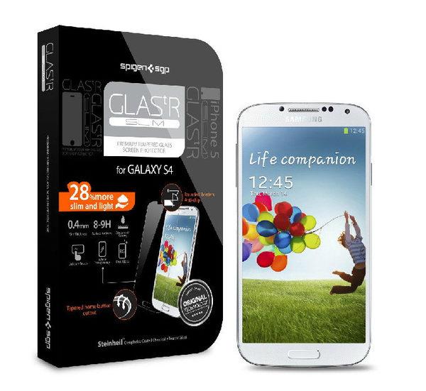 【米創3C】Spigen 韓國 SGP 三星 Galaxy S4 i9500 Slim ARMOR Glas.tR Slim 強化玻璃保護貼膜 9H硬度鋼化玻璃