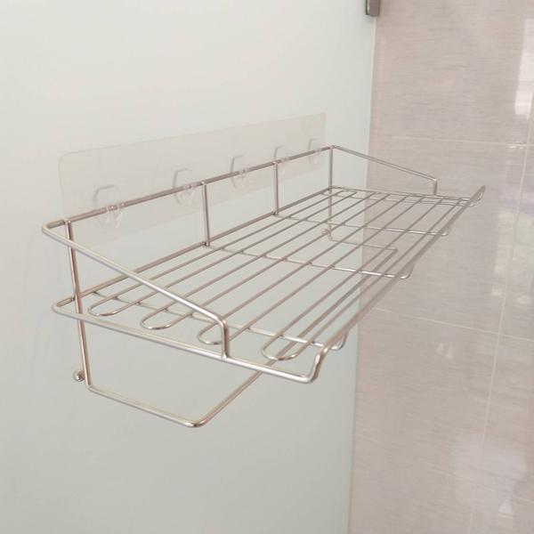 大型衣物架 長置物架 兼 毛巾架 浴巾架(台灣製造304不鏽鋼)凹凸紋路粗糙牆面可貼 無痕掛勾