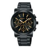 【萬年鐘錶】agnes b. 法式時尚 經典 金圈 三眼計時碼錶  IP黑 黑錶面  38mm VD53-KP30G (BT3033X1)