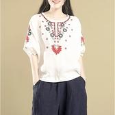 棉麻上衣 短袖棉麻T恤女2021夏裝新款寬松大碼刺繡民族風顯瘦苧麻上衣女ins