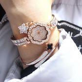 手錶 潮流韓版鋯石水鑽手鍊錶 花瓣個性吊飾 女士手錶時裝錶 一件 卡菲婭
