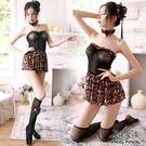 天使波堤【LD0537】馬甲碎花網衣洋裝蕾絲罩衫網襪吊帶襪居家睡衣緞面護士服馬甲四件式-黑色