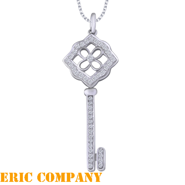 Eileen Me  Wishful key pendant 8K白金鑲鑽鑰匙吊墜