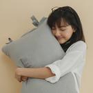 長絨棉 韓式綁帶枕套2入【晨霧灰】色織雙層紗 自由混搭 翔仔居家
