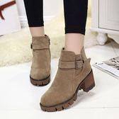 短靴 英倫風復古高跟粗跟女靴時尚學生短靴韓版磨砂