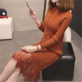 毛衣加裙子洋裝    花邊蕾絲領毛衣女中長款打底衫女寬鬆加長蕾絲針織裙 瑪麗蘇
