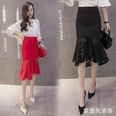 中大尺碼魚尾裙 半身裙女韓版顯瘦不規則蕾絲拼接中長款包臀裙子 nm15595【歐爸生活館】